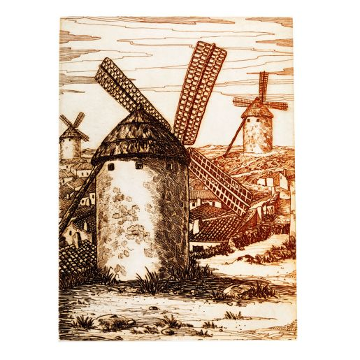 ETCHING 'WINDMILLS OF LA MANCHA'