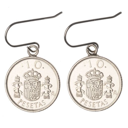 SILVER EARRINGS 10 PESETA COIN