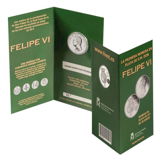 30 EURO 2014 SILVER COIN PROCLAMATION OF KING FELIPE VI