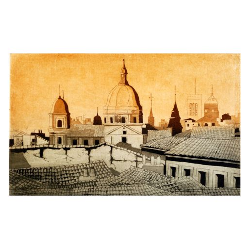 ETCHING 'ROOFS OF MADRID'