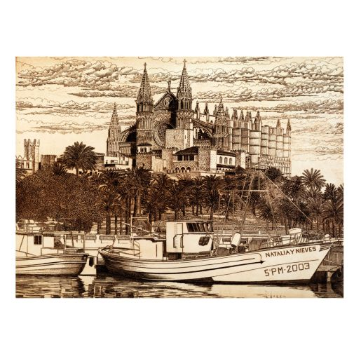 ETCHING 'CATHEDRAL OF PALMA'